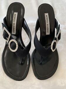 MANOLO BLAHNIK Womens Black Thong Mule High Heel With Rhinestone EUR 34.5 US 4.5