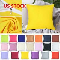 Candy Color Cotton Throw Pillow Case Home Sofa Car Cushion Décor Cover Case US