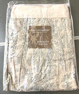 Soft Surroundings Odette Queen Bedskirt India Cotton Antique White Dusty Aqua
