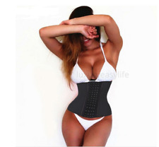 100% Latex Underbust Body Shaper Waist Trainer Clincher Corset Training Belt
