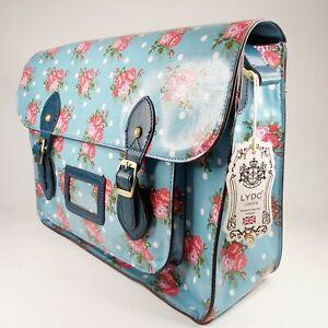 LYDC London Floral Polka Dot Satchel Handbag Blue Pink & White Shoulder Strap