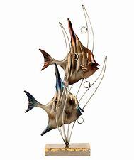 Moderne Skulptur Fische mit Wellen aus Metall Höhe 47 cm