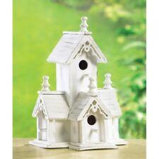 Home Garden Decor Victorian White Distressed Finish Bird House Birdhouse Wood