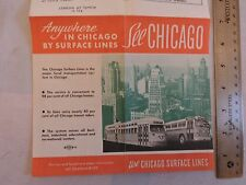 Rare 1947 Trolley Subway Bus Chicago Surface Lines Map Brochure Timetable