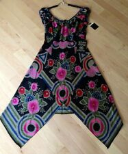 NWT Anna Sui Collection Dress -    Size 10 - Art Deco Floral - Black Silk