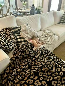 Barefoot Dreams Throw in Leopard Pattern Stone & Cream Color New Soft Blankets