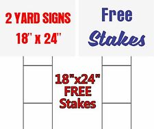 Set Of 2 Custom Yard Signs 24 X 18 Free Stakes 2 Sided Commercial Signs