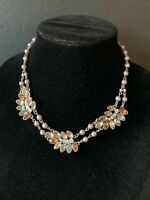 VTG.NWT(Avon) earth color rhinestone cluster silver pearl statement necklace