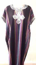 Moroccan Women Arabian Beach Summer/ wedding Caftan Dress Abaya Linen  BLK- New