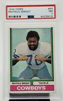 1974 Topps #54 HOF Dallas Cowboys RAYFIELD WRIGHT Football Card PSA 7 Near MINT