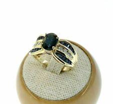 Diamond Anniversary Right Hand Ring 14K Fine 2.97 Carats t.w. Blue Sapphire &