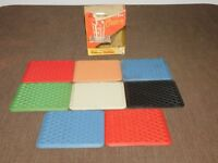 "VINTAGE BARWARE KITCHEN 8 RUBBERMAID KAR RUGS 4 1/4"" X 3 1/4"" DRINK COASTERS"