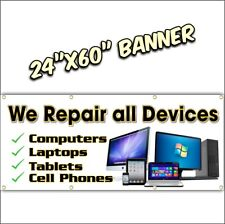 COMPUTER REPAIR BANNER  we repair all makes and models cell phone tablet 24x60