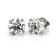 BRILLIANT ROUND-CUT 4.00 CT EARRINGS 14K SOLID WHITE GOLD BASKET STUDS SCREWBACK