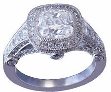 18K WHITE GOLD CUSHION CUT DIAMOND ENGAGEMENT RING BEZEL SET 2.40CT G-VS2 EGL US