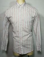 Banana Republic Large L  White Red Blue Stripe Mens Button-Front Slim Fit Shirt
