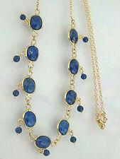 Echte Goldkette 750 / 18 kt mit Lapislazuli Cabochons - Kette Gold Collier Lapis
