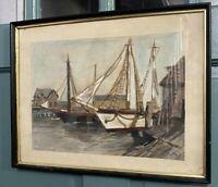 Vintage Watercolor Framed Nautical Boats Harbor Dock Signed G Hoffman 48 Seaside