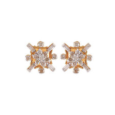 Pave 1.05 Cts Natural Diamonds Stud Earrings In Solid Hallmark 18K Yellow Gold