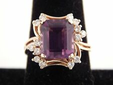 14k Yg Diseñador Enorme Anillo Amatista y Diamante 8.35 Tcw Precioso Compromiso