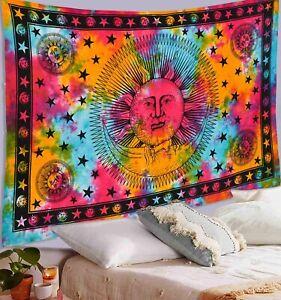Moon & Star Mandala Tie Dye Wall Hanging Beach Blanket Tapestry Twin Tapestry