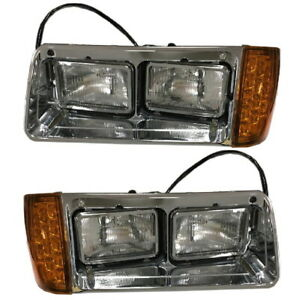 New Headlight w/LED Amber Signal PAIR FOR 1993-2007 Freightliner FLD 112 120