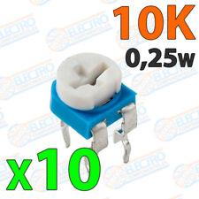 10x Potenciometro 10K ohm 1/4w 0,25w horizontal resistencia variable PCB
