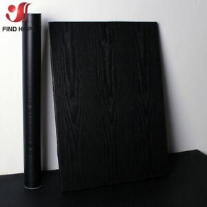 40*100cm Self Adhesive Black Wood Grain Wallpaper Contact Paper Peel and Stick