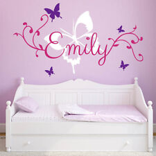 Wall Stickers custom name butterfly flower kids Removable Vinyl Decal Art Decor