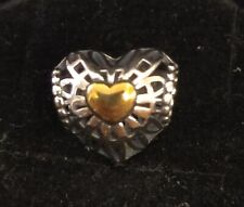 Pandora Charm Bead 791275 Silver Gold Vintage Heart S925 ALE