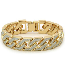 Mens Gold Finish STARDUST SANDSTONE Hip Hop Squared Cuban Chain Bracelet