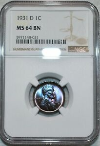 NGC MS-64 BN 1931-D Lincoln Cent, Radiant, Beautifully toned specimen.