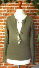 QUI MOMENTS Long sleeve Pullover Pulli Shirt Longshirt Damen Gr S 36 38 grün K15