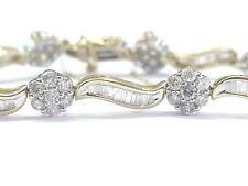 """Fine Round & Baguette Diamond Floral 2-Tone Gold Tennis Bracelet 7"""" 5.50Ct"""