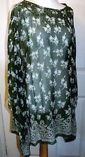 QUALITY GREEN CHIFFON LONG TOP ~ BEACH  COVER UP SIZE M 14/16  #  274