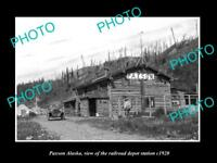 OLD LARGE HISTORIC PHOTO OF PAXSON ALASKA, VIEW RAILROAD DEPOT STATION c1920