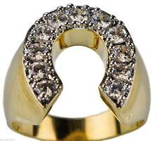 Horseshoe ring Radiant CZ Mens 18K yellow gold overlay size 9 TK717