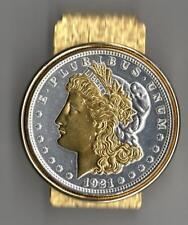 J&J Coin Jewelry Silver & Gold Detailed U.S. Morgan Silver Dollar Money Clip