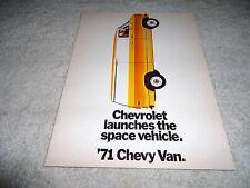 Vintage Original 1971 Chevy Van Sales Brochure