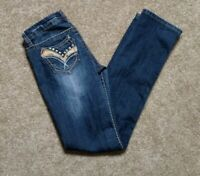 Antique Rivet Size 26 Straight Leg Stretch Denim Blue Jeans Stud Studded Relaxed