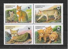 f689 TADSCHIKISTAN/ WWF 2002-Katzen MiNr 208/11 ** Viererblock