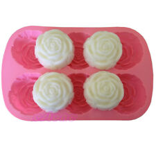 New Silicon Rose Candles Soap Molds Cake Chocolate Candy Jelly Mould 6 Cavities