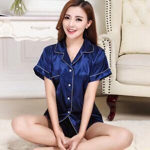 Mens Womens Silk Satin Pajamas Pyjamas Lovers Loungewear Sleepwear Set Nightgown