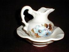McCoy Pottery Blue Daisy Flower Bowl & Pitcher Set