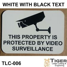 SECURITY CCTV WARNING SIGN - VIDEO SURVEILLANCE SIGN 10CM X 7CM WHITE/BLACK
