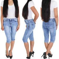Damen Capri Shorts Sommerhose Bermuda 3/4 Jeans Hüftjeans Kurze Hose Stretch