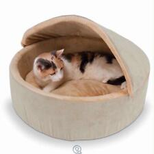 "Warming Heated Large Cat and Small Dog Bed with Hood Beige Round 20"" Diameter"