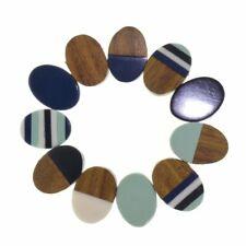 Fashion Jewellery - RESIN & WOOD BRACELET IN NAVY BLUE (SB3)