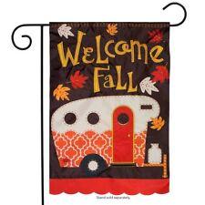 "Fall Camper Applique Garden Flag Autumn Camping Rv 12.5"" x 18"" Briarwood Lane"
