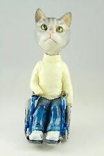 SILVER TABY CAT IN WHEELCHAIR  SEE INTERCHANGABLE BODIES & BREEDS @ EBAY STORE